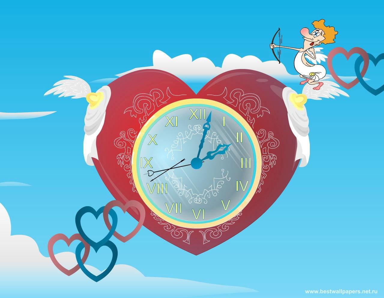 Сердце с часами валентинка новые