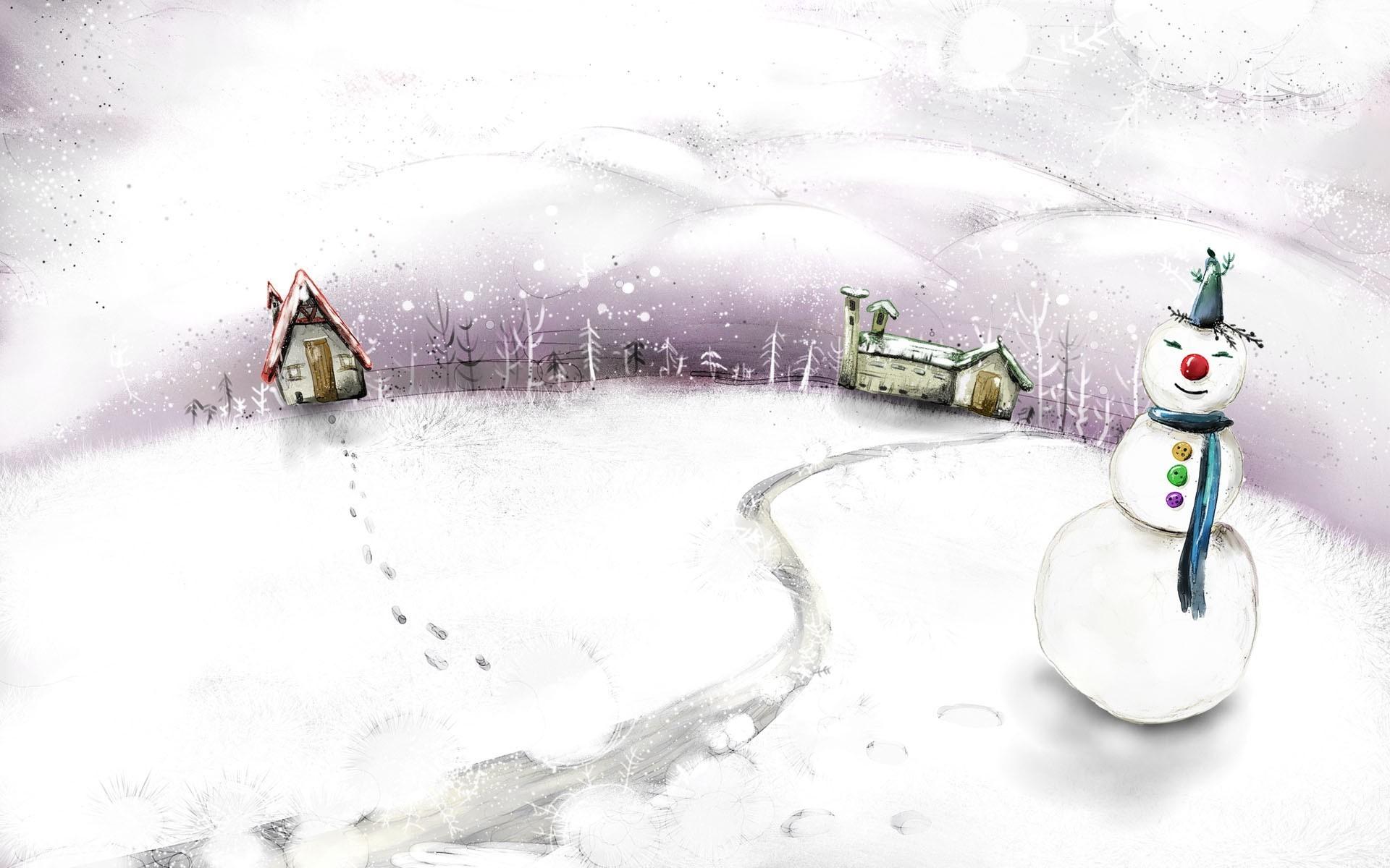 нарисованная зима обои на рабочий стол № 1239631 без смс